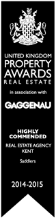 United Kingdom Property Awards Highly Commended Real Estat Agency Kent Saddlers 2014 - 2015