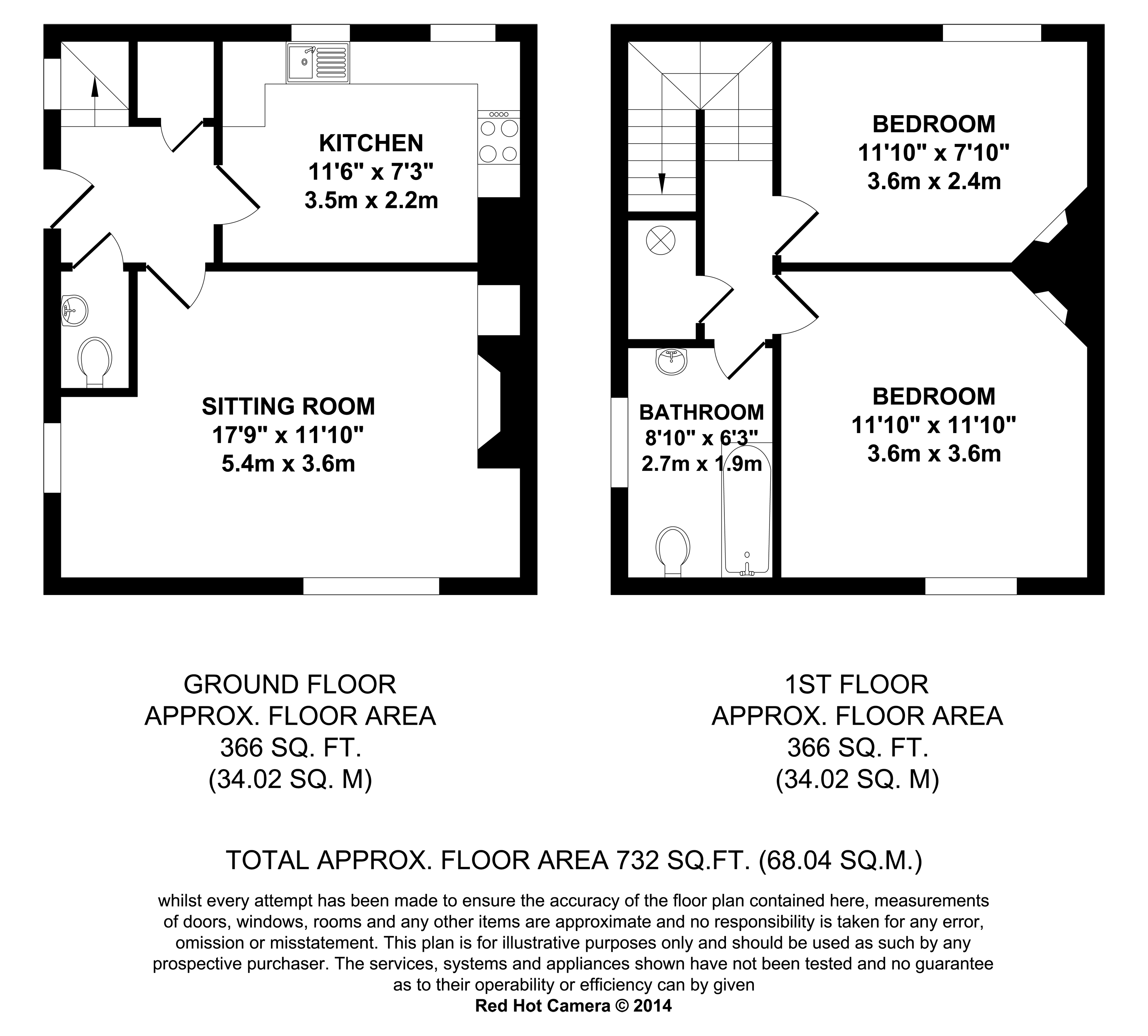 Floorplans For Barnfield Cottages, Barnfield Road, Ashford