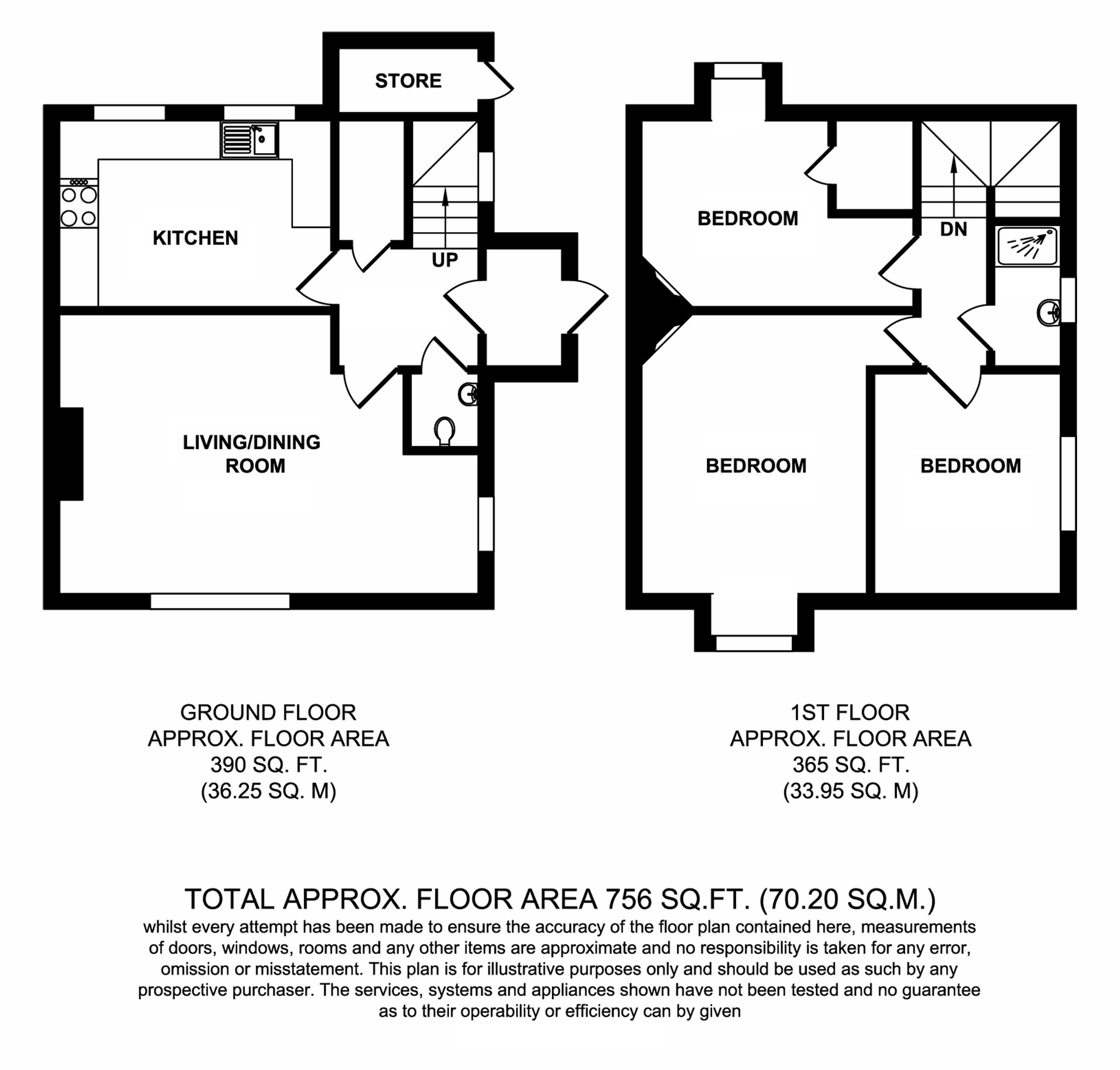 Floorplans For Barnfield Cottages, Barnfield Road, Charing Heath