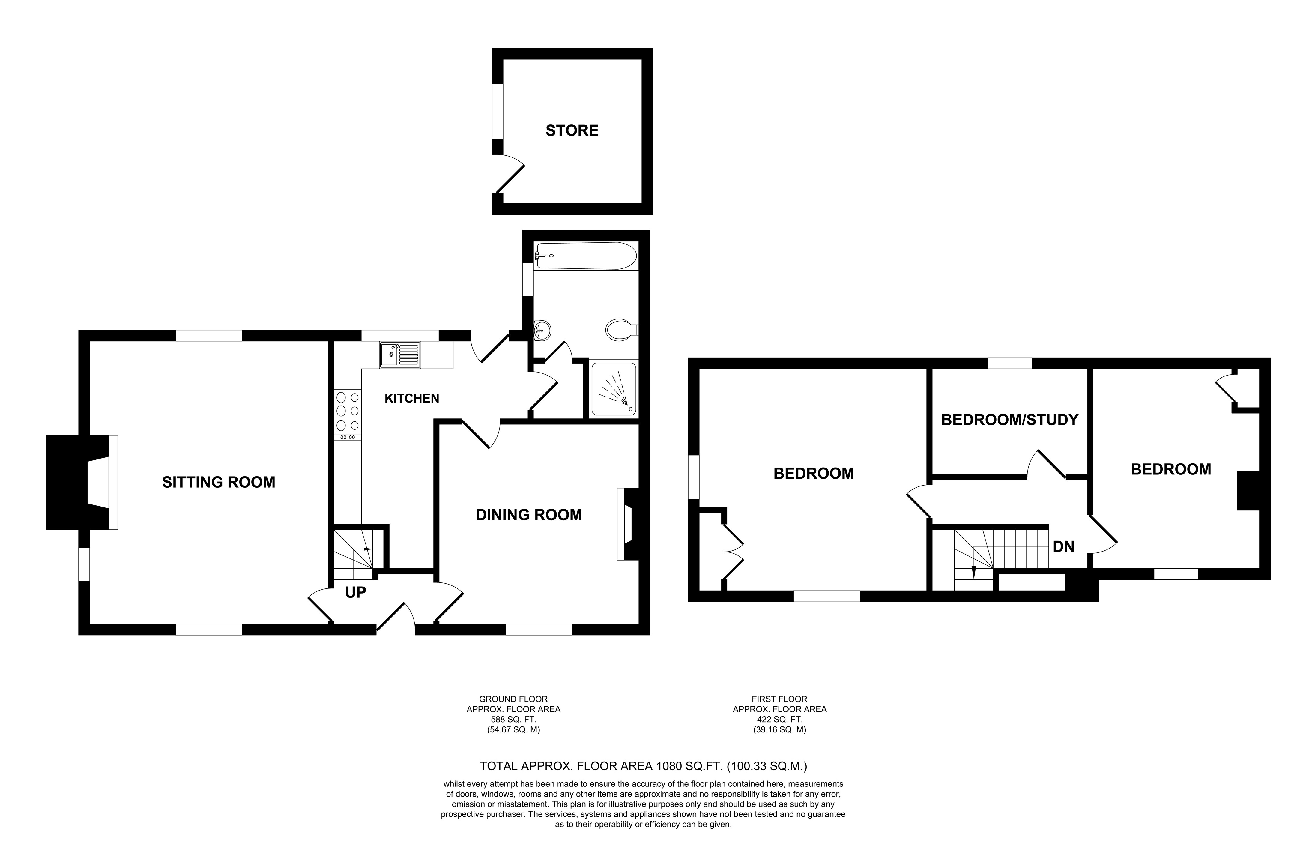 Floorplans For Kingsland Cottages, Kingsland Lane, Egerton