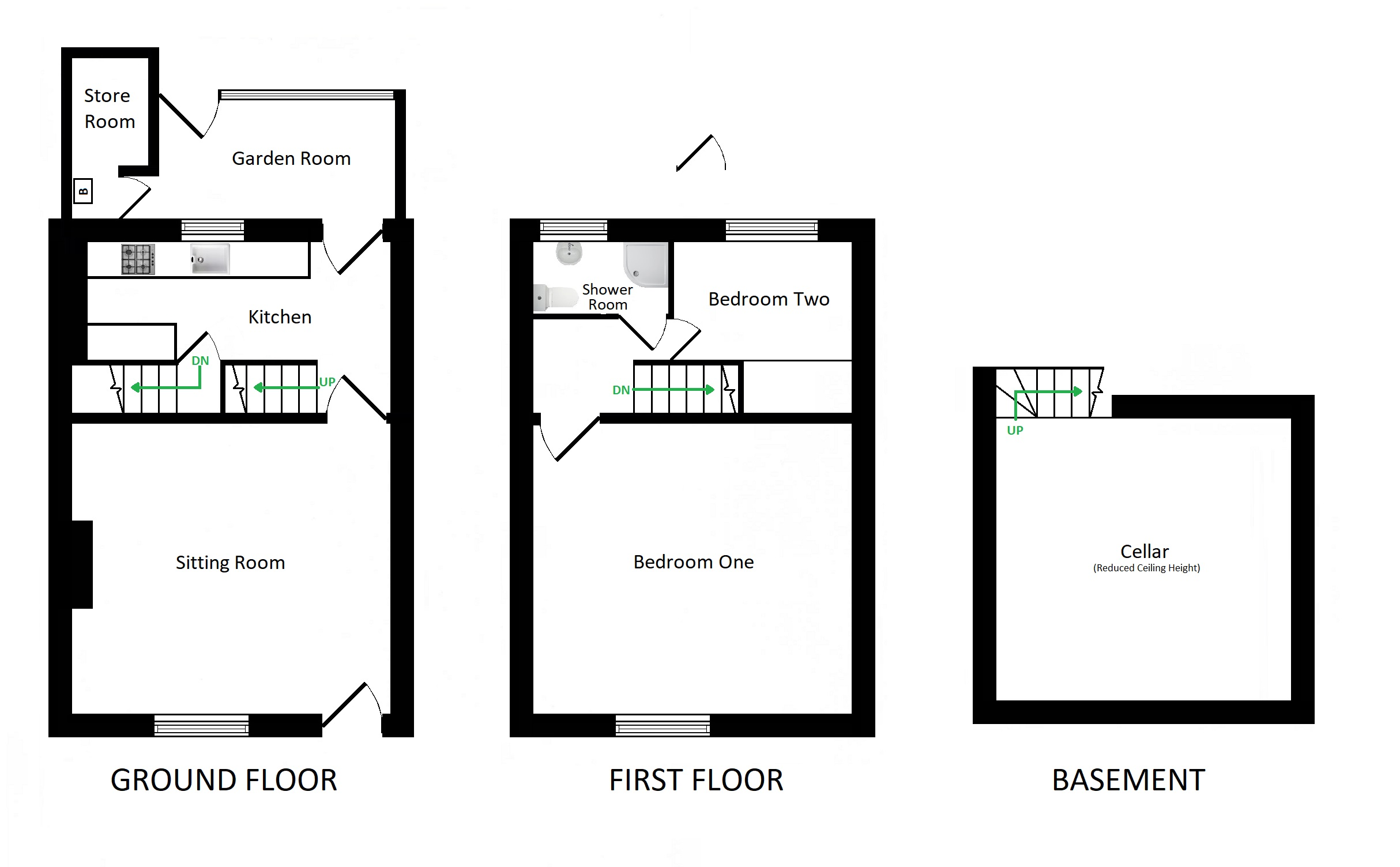Floorplans For Adams Cottage, 40 Shalmsford Street, Canterbury